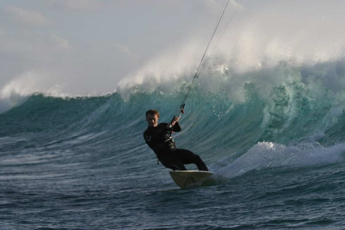 The Pro Kitesurfer of the Corralejo Kitesurf School, Fuerteventura, Canary Islands